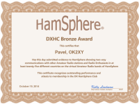 HamSphere DXHC Bronze Award